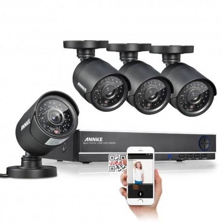 Sistema de Videovigilancia Profesional CCTV con 4 Camaras HD y Grabador