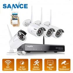 Sistema de Videovigilancia Profesional CCTV con 4 Camaras HD Wifi y Grabador Inalambrico