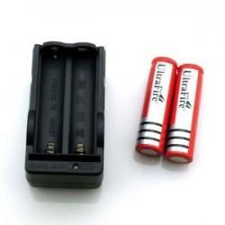2 Baterias Recargables Ultrafire y Cargador de Pared